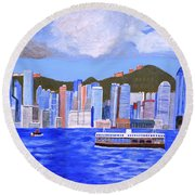 Round Beach Towel featuring the painting Hong Kong by Magdalena Frohnsdorff