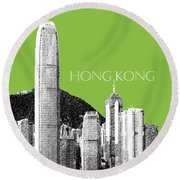 Hong Kong Skyline 1 - Olive Round Beach Towel
