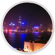 Hong Kong Skyline Round Beach Towel by Pixel  Chimp