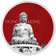 Hong Kong Skyline Tian Tan Buddha - Dark Red Round Beach Towel