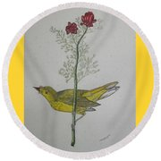 Hooded Warbler Round Beach Towel by Kathy Marrs Chandler