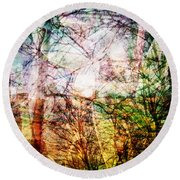 Round Beach Towel featuring the mixed media Hoosier Country Opus 1 by Sandy MacGowan