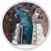 Hoover Dam Black Canyon Round Beach Towel