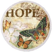 Hope And Butterflies Round Beach Towel