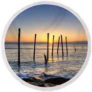Horizon Sunburst Round Beach Towel by Michael Ver Sprill