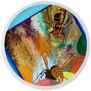 Round Beach Towel featuring the painting Hornets by Daniel Janda