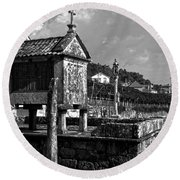 Horreo And Cruceiro In Galicia Bw Round Beach Towel
