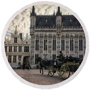Horse And Carriage Round Beach Towel