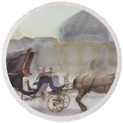 Horse And Carriage, Naghshe Jahan Square, Isfahan Wc On Paper Round Beach Towel