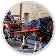 Horse And Cart Round Beach Towel by Adrian Evans