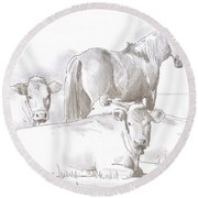 Horse And Cows Sketch Round Beach Towel