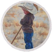 Horse And Rider Round Beach Towel