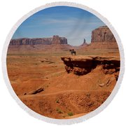 Horse And Rider In Monument Valley Round Beach Towel
