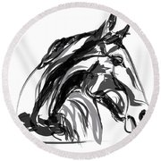 Horse- Apple -digi - Black And White Round Beach Towel