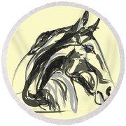 Round Beach Towel featuring the painting horse - Apple digital by Go Van Kampen