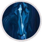 horse - Apple indigo Round Beach Towel
