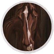 Horse Apple Warm Brown Round Beach Towel
