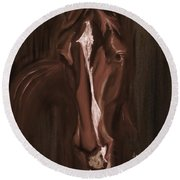 Horse Apple Warm Brown Round Beach Towel