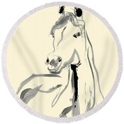 Round Beach Towel featuring the painting Horse - Arab by Go Van Kampen