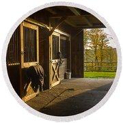 Horse Barn Sunset Round Beach Towel