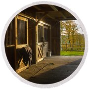 Horse Barn Sunset Round Beach Towel