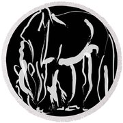 horse- Be strong Round Beach Towel