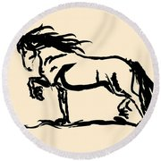 Horse - Blacky Round Beach Towel