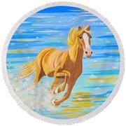 Round Beach Towel featuring the painting Horse Bright by Phyllis Kaltenbach