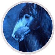Horse - Carol In Indigo Round Beach Towel