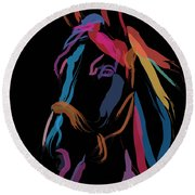 Horse-colour Me Beautiful Round Beach Towel