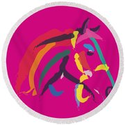 Horse - Colour Me Strong Round Beach Towel