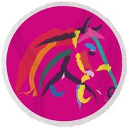 Horse - Colour Me Strong Round Beach Towel