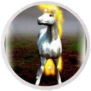 Round Beach Towel featuring the digital art Horse by Daniel Janda