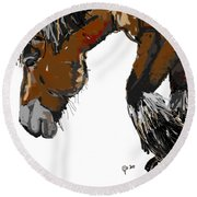 Round Beach Towel featuring the painting horse - Guus by Go Van Kampen