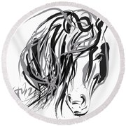 Horse- Hair And Horse Round Beach Towel