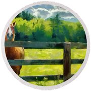 Round Beach Towel featuring the painting Horse In The Field by Jeff Kolker