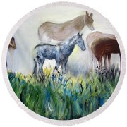 Horses In The Fog Round Beach Towel