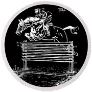 Horse Jump Patent 1939 - Black Round Beach Towel