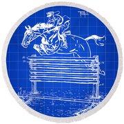 Horse Jump Patent 1939 - Blue Round Beach Towel
