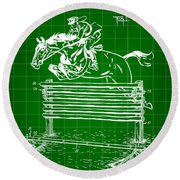 Horse Jump Patent 1939 - Green Round Beach Towel