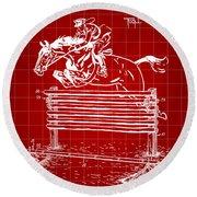Horse Jump Patent 1939 - Red Round Beach Towel