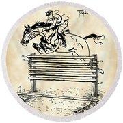 Horse Jump Patent 1939 - Vintage Round Beach Towel