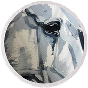 Horse Look Closer Round Beach Towel
