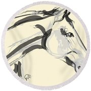 Round Beach Towel featuring the painting Horse - Lovely by Go Van Kampen