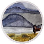 Round Beach Towel featuring the painting Horse Of The Mountains by Verana Stark