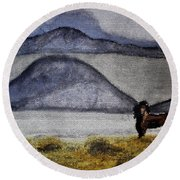 Round Beach Towel featuring the mixed media Horse Of The Mountains With Stained Glass Effect by Verana Stark