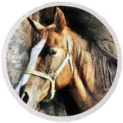 Horse Portrait - Drawing Round Beach Towel