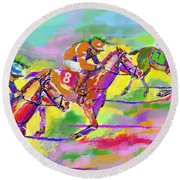 Horse Race  Three Round Beach Towel