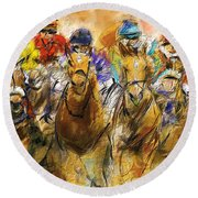Horse Racing Abstract Round Beach Towel