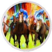 Horse Racing Round Beach Towel by Lourry Legarde